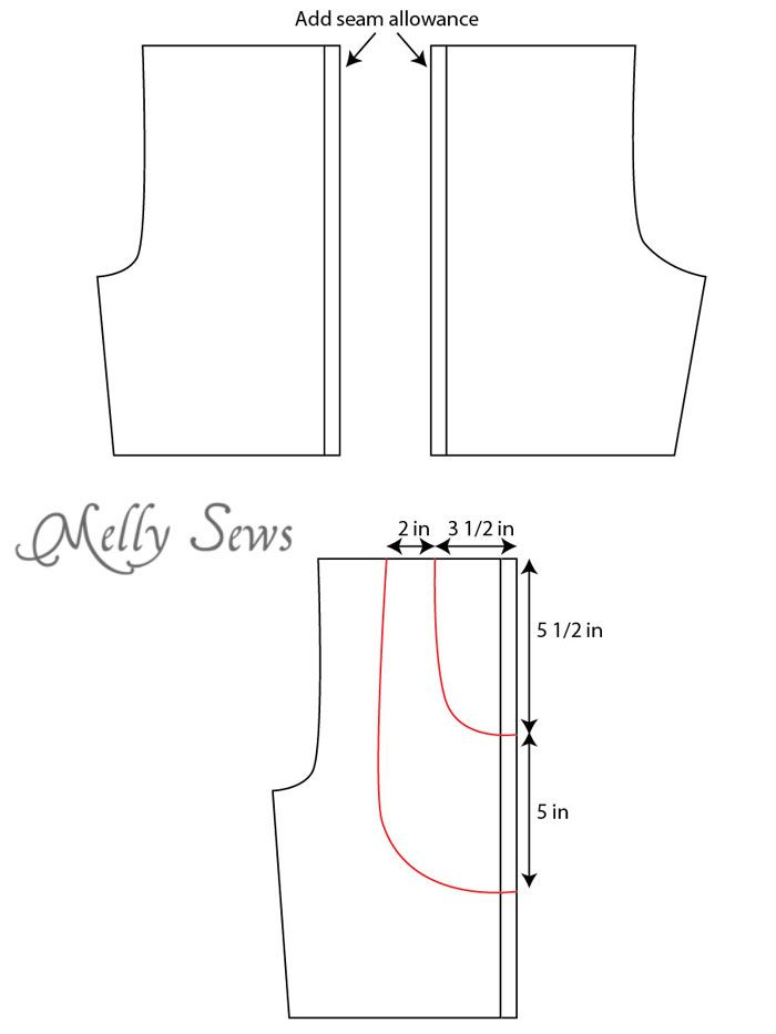 Modify pattern step 2 - Sew Mens Shorts Tutorial - with drawstring and pockets - Melly Sews