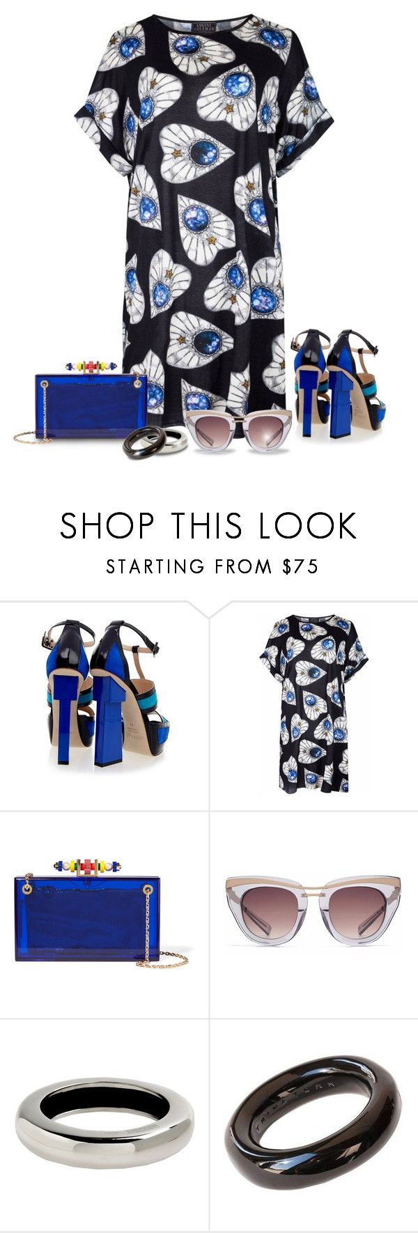 """""""Sapphire"""" by ladychatterley ❤ liked on Polyvore featuring Aperlaï, Louise Coleman, Charlotte Olympia, HOOK LDN, Moschino, Trina Turk, Summer, CharlotteOlympia, summerdress and Aperlai"""