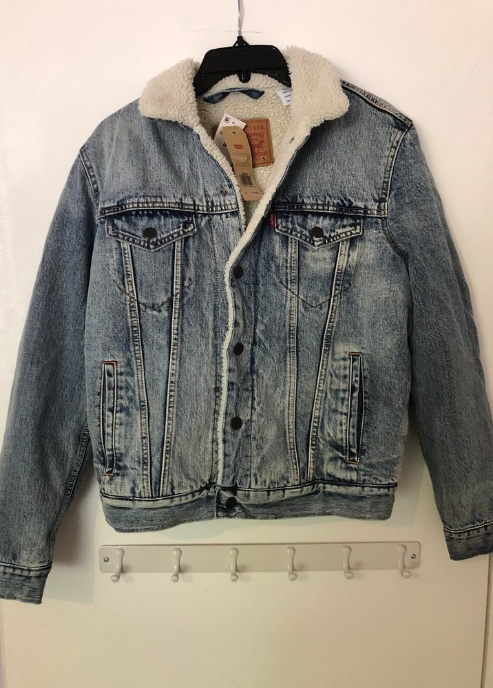Mens S Small Levis Sherpa Lined Acid Washed Denim Jean Jacket Fab