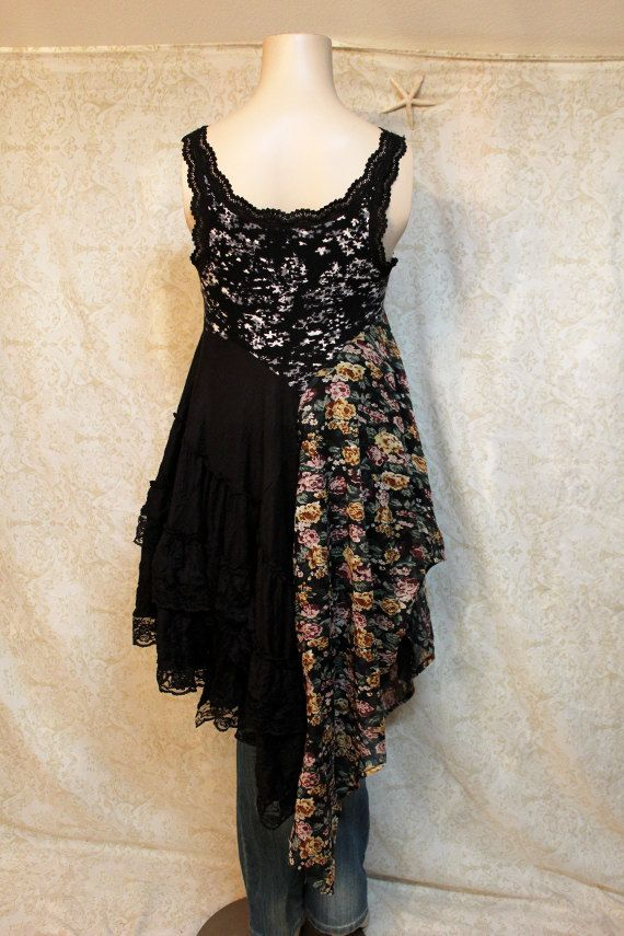 Boho Knit Tank Top Shirt, Shabby Chic Romantic, Bohemian Junk Gypsy Style, Mori Girl, Lagenlook