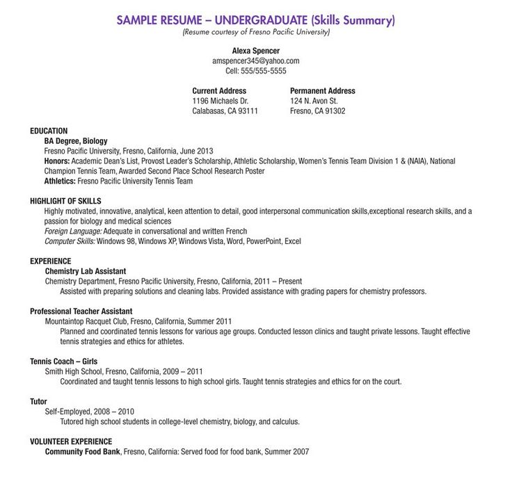 Examples Of Current Resumes Resume Style Format Resume Format