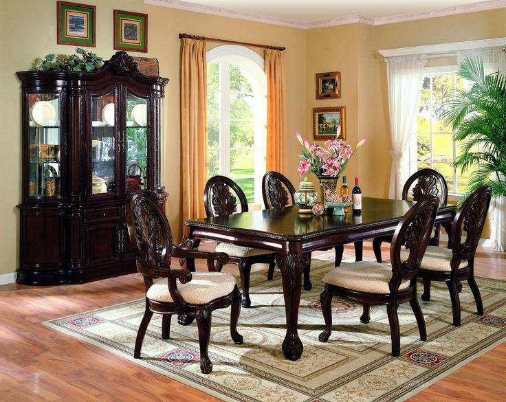 Tabitha Traditional Dark Cherry Buffet And Hutch Dining Room SetsDining TableChina CabinetsSide