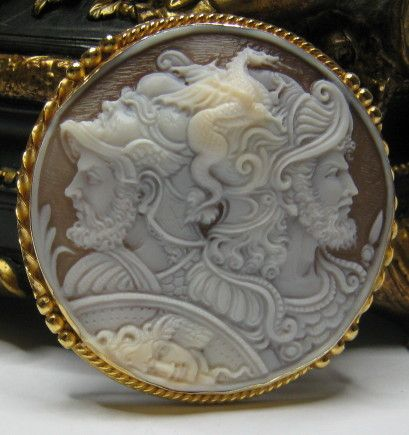 SHELL CAMEO SILVER 925 Saint George and Neptune - pendant - brooch