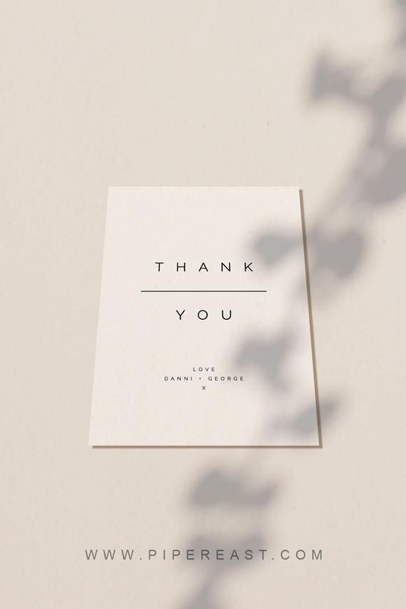 Modern Thank You Cards Flat Folded Printable Wedding Template Instant Download Cards Folded Modern Thank You Card Design Thank You Cards Discount Card