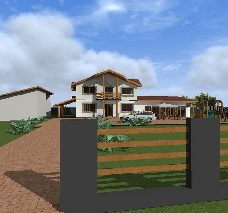 House design with garrage and swimming pool.. Artlantis Animation