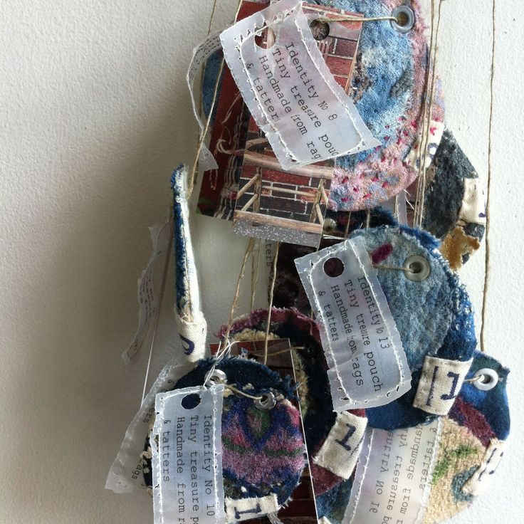 Kate Whitehead Textiles Tiny seed pouches Hand made from rags & tatters © 2015 Kate Whitehead