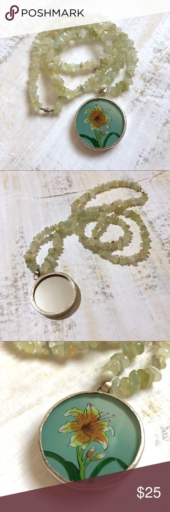 """{HANDMADE} Floral Mirror Pendant Necklace Handmade. One of a kind.   Sea green new jade polished chips. Round pendant with hand painted lily on one side and a mirror on the reverse side.   No clasp. Slides over head.   16"""" drop length  32"""" total circumference  Pendant 1.5"""" Jewelry Necklaces"""
