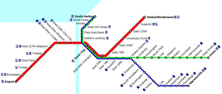 """O #metrô de #Cleveland (RTA Rail de Cleveland), conhecido como """"The rapid"""" tem 4 linhas que servem à Cleveland e Cuyahoga County: uma linha rápida, a linha vermelha, e 2 trens rápidos (Shaker Rapids), a linha azul e a verde. A quarta linha é a Waterfront. Para complementar este sistema de trens, Cleveland tem uma rede de ônibus com umas 90 rotas."""