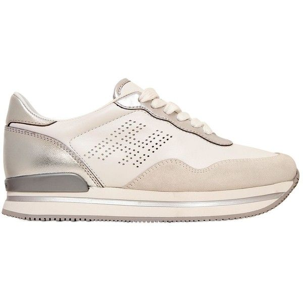 Hogan Women 50mm H222 Leather & Suede Sneakers ($340) ❤ liked on Polyvore featuring shoes, sneakers, white, hogan sneakers, leather shoes, white trainers, suede shoes and white platform sneakers