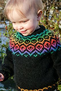 A Lopi sweater for toddlers with a traditional Icelandic yoke patter.
