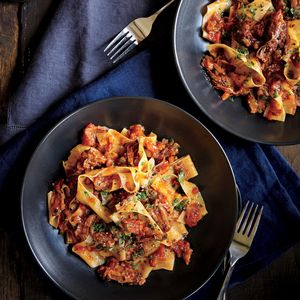 Short Rib and Tomato Ragout | MyRecipes.com The short rib bones add incredible flavor to the ragout as the meat breaks down.