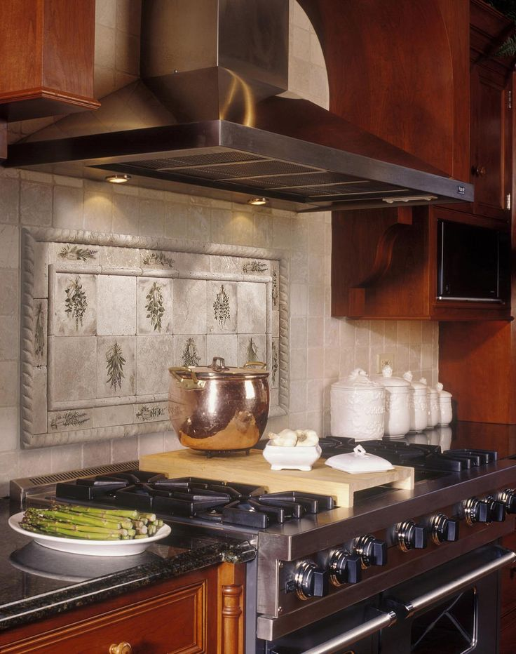 Kitchen Herbs Design Ideas Kitchen Fantastic Featured Kitchen Backsplash  Design With Herbs Pattern In The Fabulous Wooden Kitchen Along With Black  Marble ...