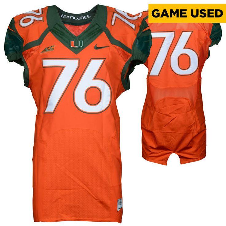 Miami Hurricanes Fanatics Authentic Game-Used 2014 Nike Orange Football Jersey #76 - Size 48