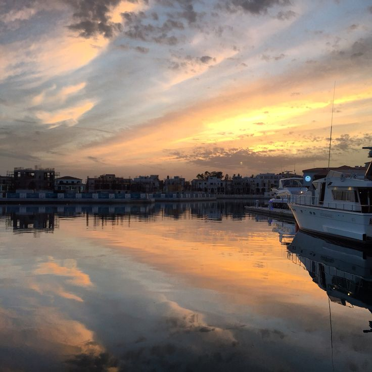 One of the best sunsets in Cyprus is in Limassol #limassolmarina.