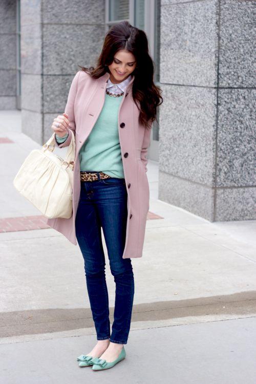 mint top, pink coat