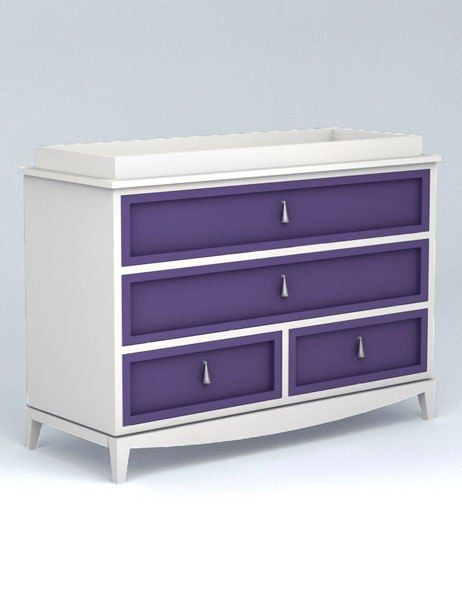 """Regency four-drawer changing table with removable changing tray by Ducduc, made to order with client-selected finishes and fabrics (shown here with classic white frame and mystical grape drawer fronts), 37"""" l. x 31.75"""" h. x 20"""" d., $2,085. ducducnyc.com, 212-226-1868"""