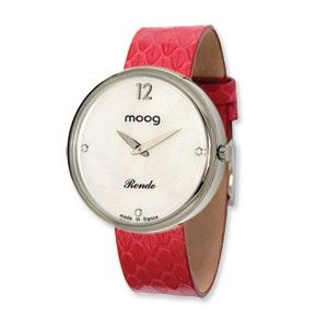 Moog Stainless Steel Round White Dial Watch w/(SN-02) Red Band - SalmaWatches.com $209.95