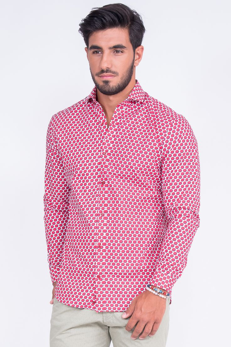 Slim Fit Shirt In Big Red Polka Dot