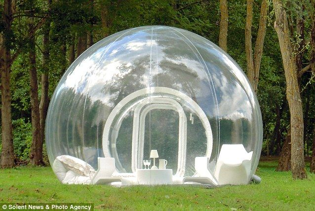 With incredible panoramic views of the surrounding countryside, the bizarre transparent structures are designed to get people as close to nature as possible.  See through: The new transparent bubble tent has been designed to give campers a panoramic view of the countryside.     Price: $11,914.00    On sale at www.ducomi.com for $1,914.00  Follow us on Twitter @DUCOMI