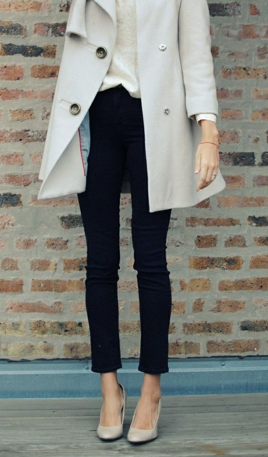 Invest in attire that is classic and work with lots of different activities (khaki trench, nude heels)