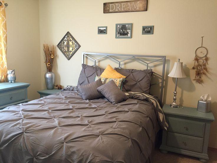 Teal, yellow, grey chevron bedroom