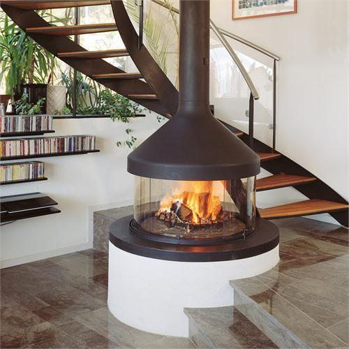 fireplace freestanding gas contemporary three side view | Contemporary Freestanding Fireplace from CF+D