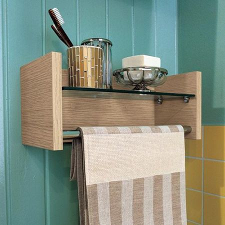 This practical bathroom shelf and towel rail is made using Meranti, but you can substitute with pine or board to match your bathroom decor.