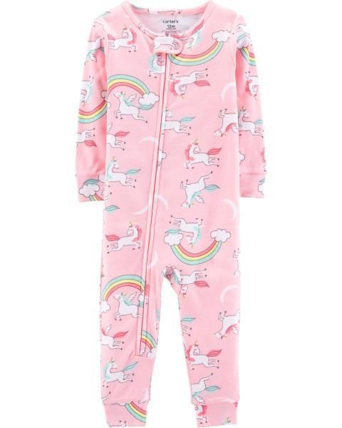 5491dd4ae19d 1-Piece Unicorn Snug Fit Cotton Footless PJs