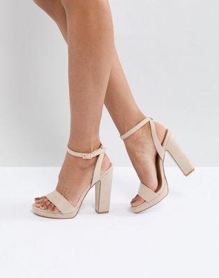 9f2effee5115 Image 1 of Truffle Collection Slim Platform Sandal Beige High Heels
