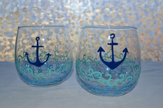 Stemless Nautical Anchor Wine Glasses- Hand Painted Wine Glasses with whimsical waves