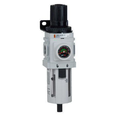 PneumaticPlus PPP3-N03BG Compressed Air Filter Regulator Piggyback Combo 3/8 inch NPT, Particulate Air Filter (5 Micron), Manual Drain, Poly Bowl, Bracket, Embedded Gauge