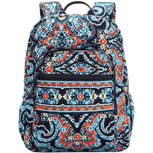 Vera Bradley Campus Backpack ($109) ❤ liked on Polyvore featuring bags, backpacks, marrakesh, blue bag, vera bradley, vera bradley backpack, pattern backpack and quilted bag