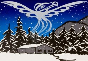 "Solstice 1995 - Eagle Aerie Gallery, The Art of Roy Henry Vickers  ""This work brings with it a notice to all our friends and acquaintances that we moved. The white raven is symbolic of our Creator. The Longhouse with smoke rising represents our new home and our presence in it. The snow falls to blanket Mother Earth and the seeds that hold the promise of new life in Spring"""