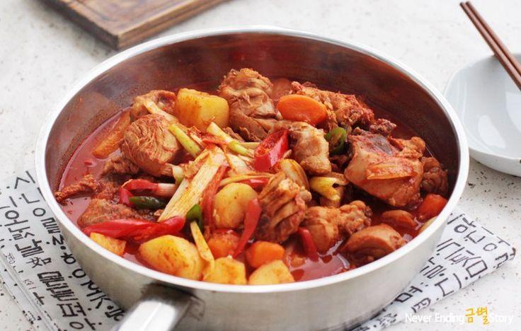 닭도리탕 (Такторитан) - Острая тушеная курица