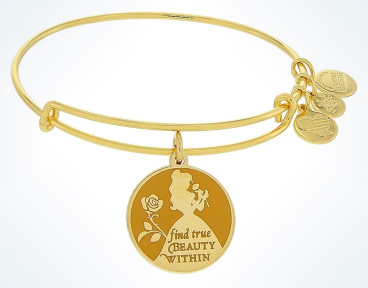 Disney Parks Words Are Powerful : Belle Find True Beauty Within Bangle Bracelet by Alex and Ani Gold Finish Expandable for perfect fit Enamel cloisonné ''Awaken Your Heart'' charm Energy, Made with Lo