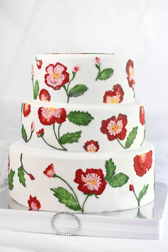 Cabbage Rose Embroidery Wedding Cake - this was hand painted.  Flavor is white cake with lemon curd filling and vanilla buttercream
