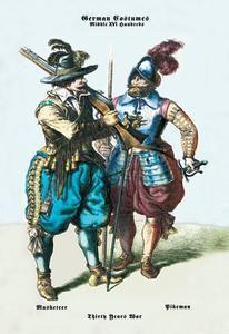 Art Print German Costumes: Thirty Years War: Musketeer 20x30 New DB-18418
