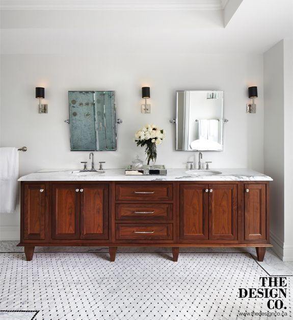 Walnut Bathroom Vanity, Marble Inlay, Marble Floors, Black Border, Black Shade Sconces, Swivel