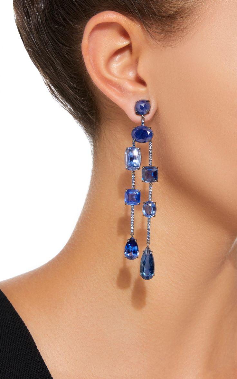 18K White Gold Multi-Stone Earrings by IRENE NEUWIRTH Now Available on Moda Operandi