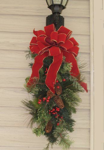 Mailboxes with Christmas Lights | Holiday Pine Door Swag CR1023 Outdoor-Decoration-Christmas