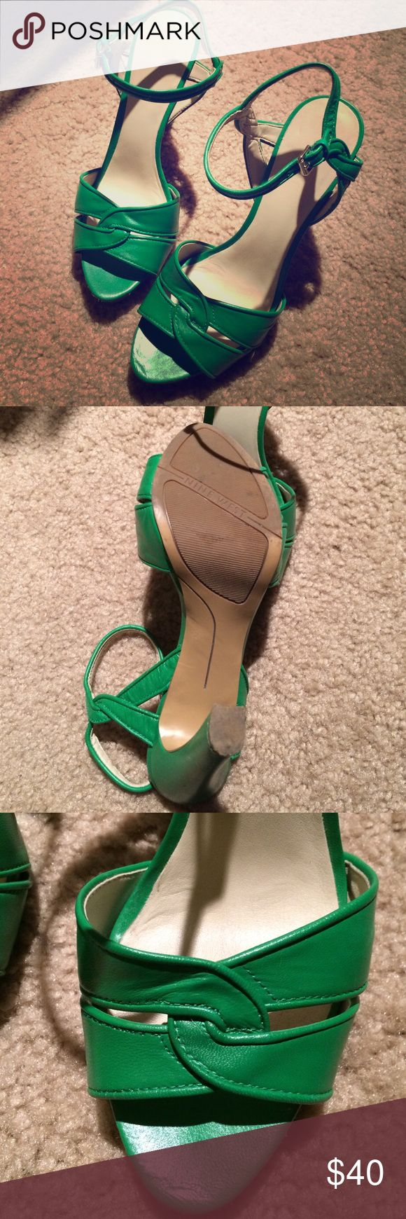 Green leather heels Beautiful rich green strappy heels from Nine West. Excellent condition Nine West Shoes Heels