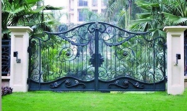 Hi Q Garden Dual Swing Wrought Iron Gates Luxury Driveway Iron