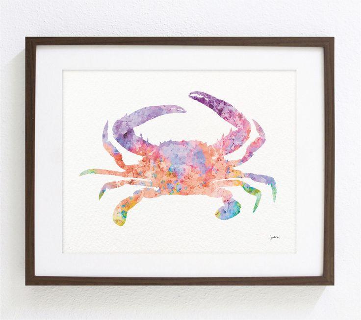 Art du crabe aquarelle – Impression d'archive 8×10 – rose, orange et violet – Art coloré Silhouette de crabe Home Decor Wall Art   – Sea life watercolor