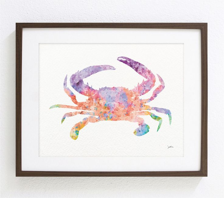 Crab Art Watercolor Painting - 8x10 Archival Print - Pink, Orange and Purple - Colorful Art Crab Silhouette Home Decor Wall Art by ElfShoppe on Etsy https://www.etsy.com/listing/155029516/crab-art-watercolor-painting-8x10