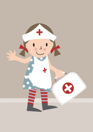 postcard 'get well girl' illustration #nurse