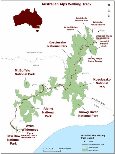The Australian Alps Walking Track (aka the Alps Track) is a 650-kilometer trail that winds through the high country of Victoria, New South Wales and the ACT. The entire route can be completed in about 10 weeks.