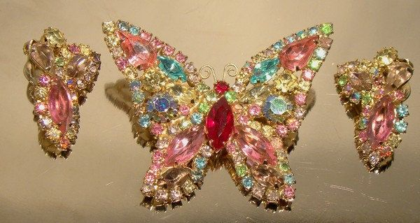 WEISS Multi Color Rhinestone BUTTERFLY Pin & Earrings Set 1950s Pink Blue Signed by FionaKennyAntiques on Etsy