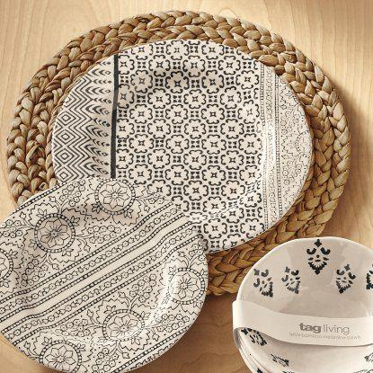 TAG Henna Bamboo Melamine Dinner Plate - Set of 4 - Outdoor Dinnerware at Hayneedle