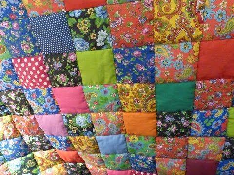 """Лоскутное одеяло """"Случайный цвет"""" за 30 минут! Мастер-класс """"Мир лоскутов.ру"""" - YouTube"""