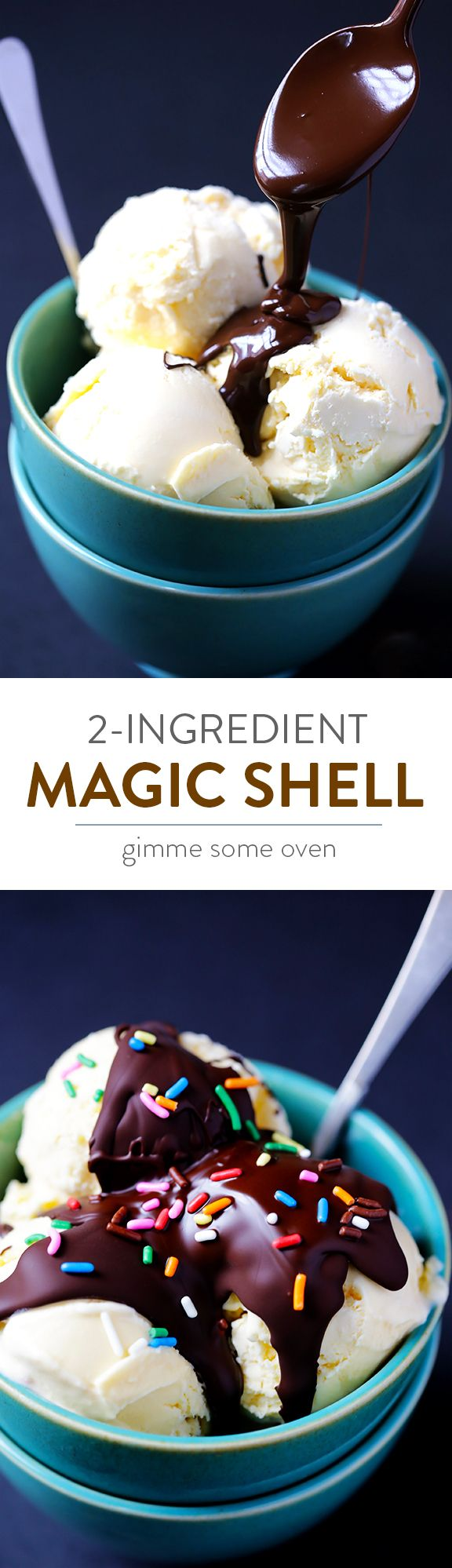 All you need are 2 easy ingredients to make the crunchy chocolate magic shell topping we all love! | gimmesomeoven.com